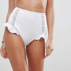 ASOS white bridal high waisted bikini bottom